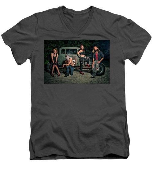 Rodders #5 Men's V-Neck T-Shirt by Jerry Golab