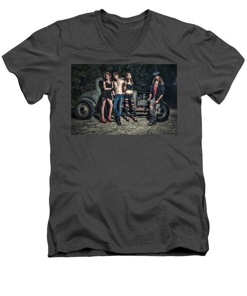 Rodders #6 Men's V-Neck T-Shirt by Jerry Golab