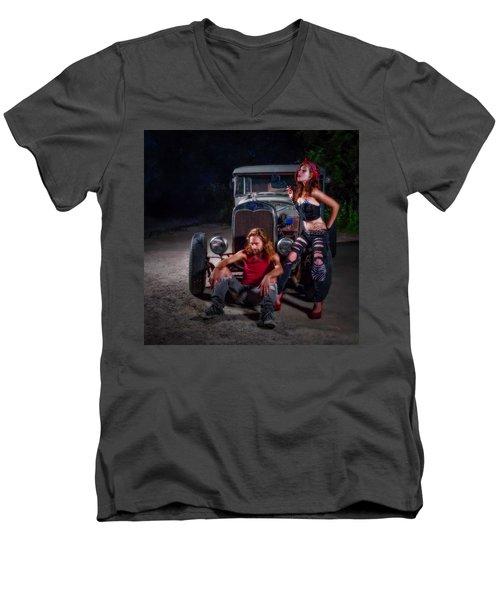 Rodders Men's V-Neck T-Shirt by Jerry Golab