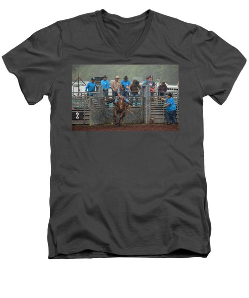 Men's V-Neck T-Shirt featuring the photograph Rodeo Bronco by Lori Seaman