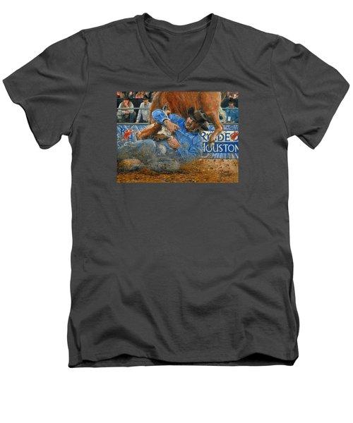 Rodeo Houston --steer Wrestling Men's V-Neck T-Shirt