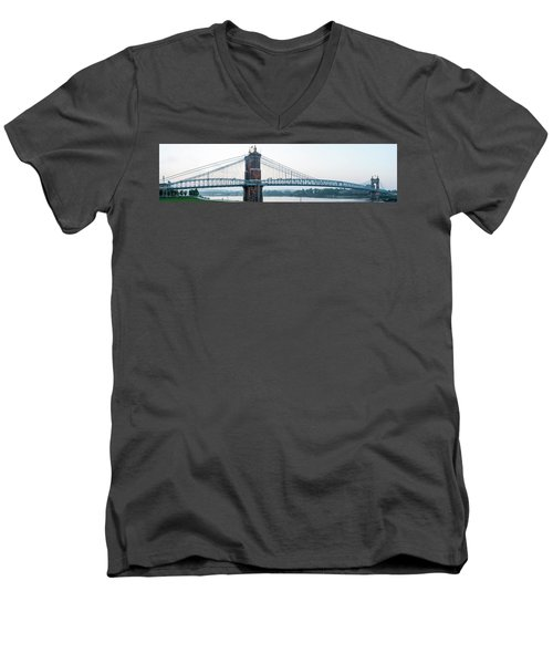 Roebling Bridge Men's V-Neck T-Shirt