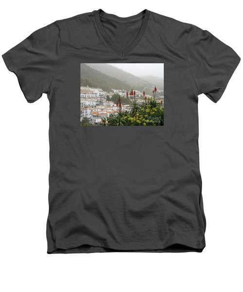 Rojo In The Pueblos Blancos Men's V-Neck T-Shirt by Suzanne Oesterling
