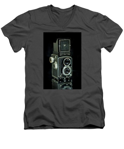 Men's V-Neck T-Shirt featuring the photograph Rollei Twin Lense by Keith Hawley