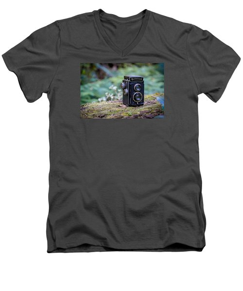 Men's V-Neck T-Shirt featuring the photograph Rolleicord Tlr by Keith Hawley