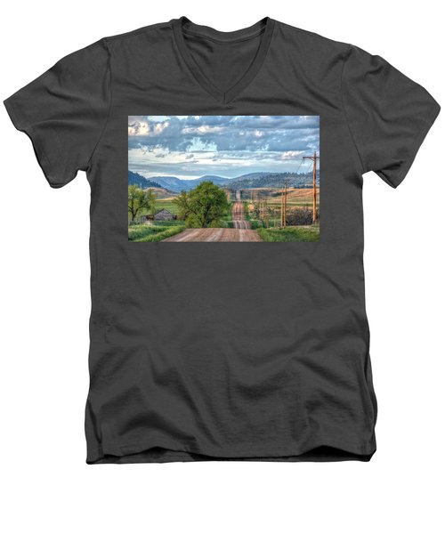 Rollercoaster Country Road Men's V-Neck T-Shirt by Fiskr Larsen