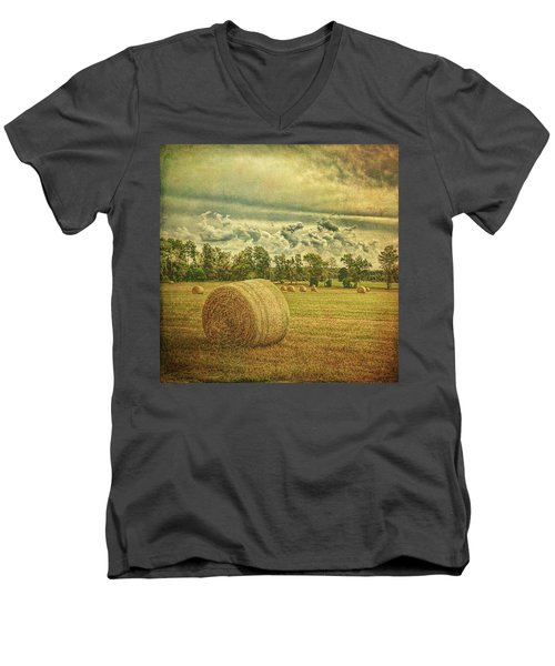 Men's V-Neck T-Shirt featuring the photograph Rollin' Hay by Lewis Mann