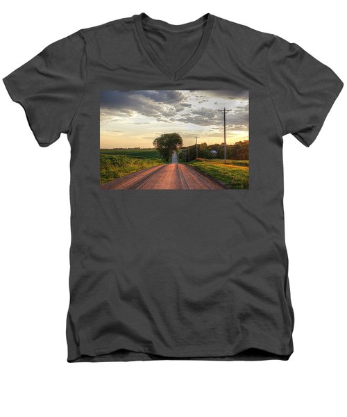 Rolling Down A Country Road Men's V-Neck T-Shirt by Karen McKenzie McAdoo
