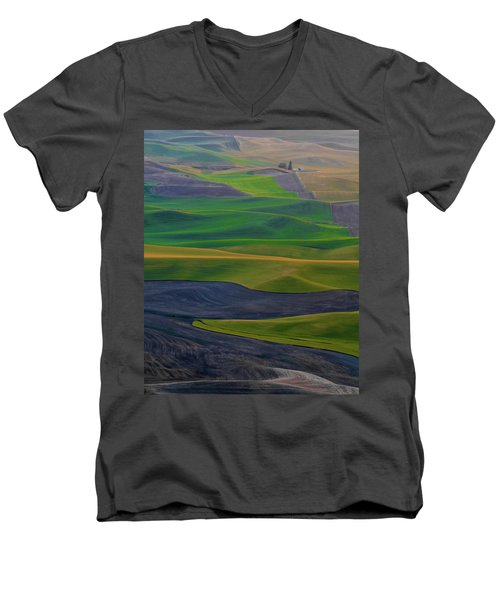 Rolling Fields Of The Palouse Men's V-Neck T-Shirt by James Hammond