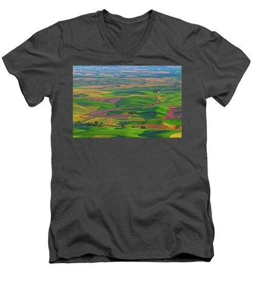 Rolling Green Hills Of The Palouse Men's V-Neck T-Shirt by James Hammond