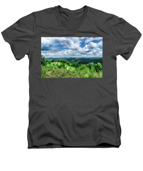 Rolling Hills And Puffy Clouds Men's V-Neck T-Shirt