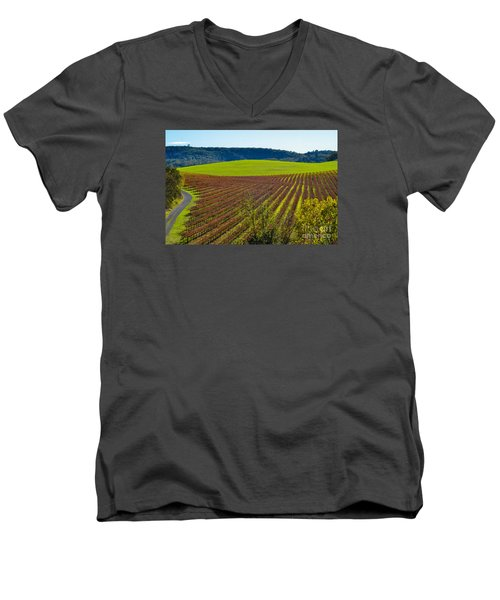 Rolling Hills And Vineyards Men's V-Neck T-Shirt by CML Brown