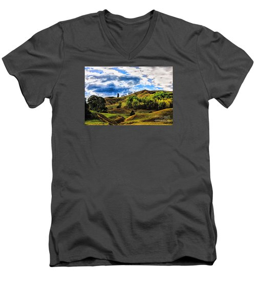 Rolling Hills Men's V-Neck T-Shirt by Rick Bragan
