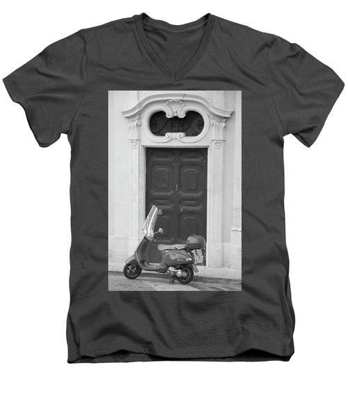 Roma Vespa And Door  Men's V-Neck T-Shirt