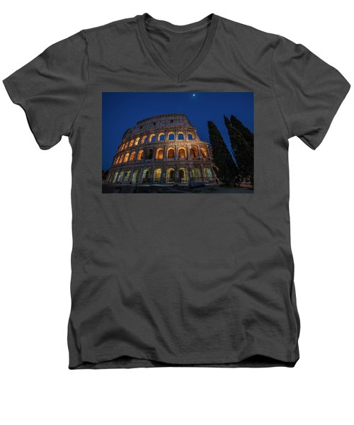 Roman Coliseum In The Evening  Men's V-Neck T-Shirt
