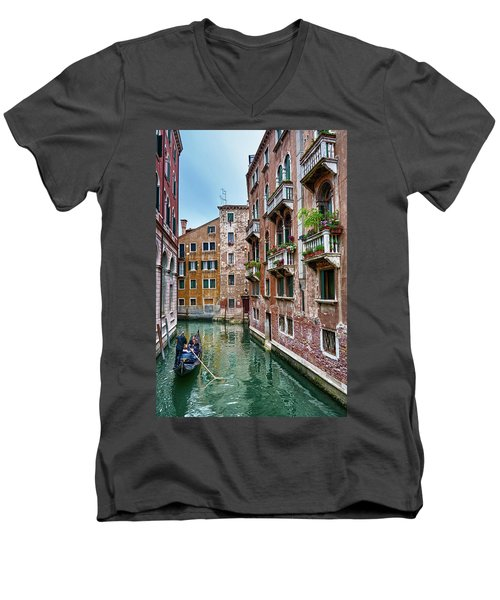 Gondola Ride Surrounded By Vintage Buildings In Venice, Italy Men's V-Neck T-Shirt