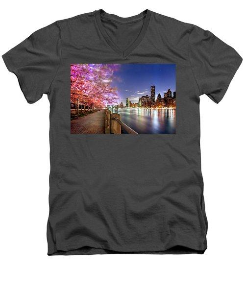 Romantic Blooms Men's V-Neck T-Shirt by Az Jackson