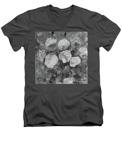 Men's V-Neck T-Shirt featuring the painting Romantic Large Roses  by Robin Maria Pedrero
