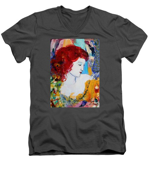 Romantic Read Heaired Woman Men's V-Neck T-Shirt