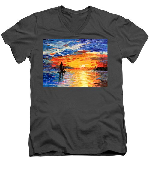 Men's V-Neck T-Shirt featuring the painting Romantic Sea Sunset by Georgeta  Blanaru