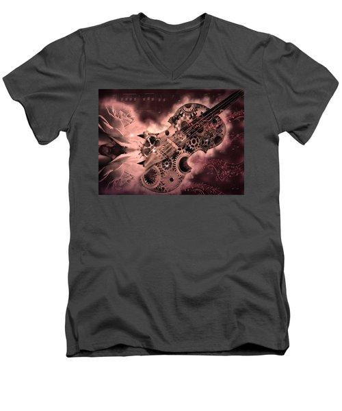 Romantic Stemapunk Violin Music Men's V-Neck T-Shirt