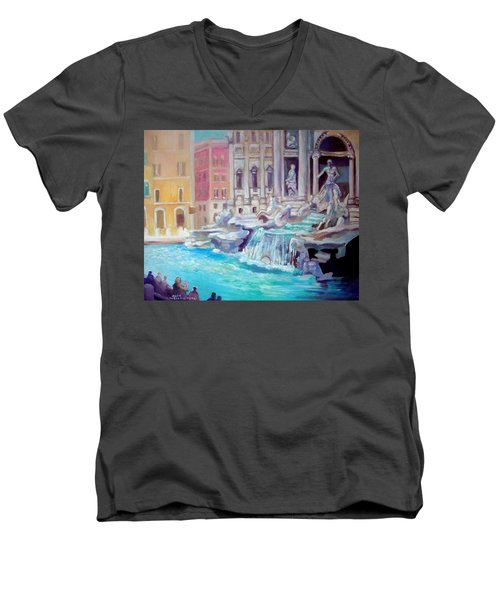 Men's V-Neck T-Shirt featuring the painting Rome  Italy by Paul Weerasekera