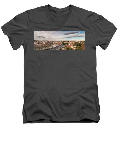 Men's V-Neck T-Shirt featuring the photograph Rome - Panorama  by Sergey Simanovsky