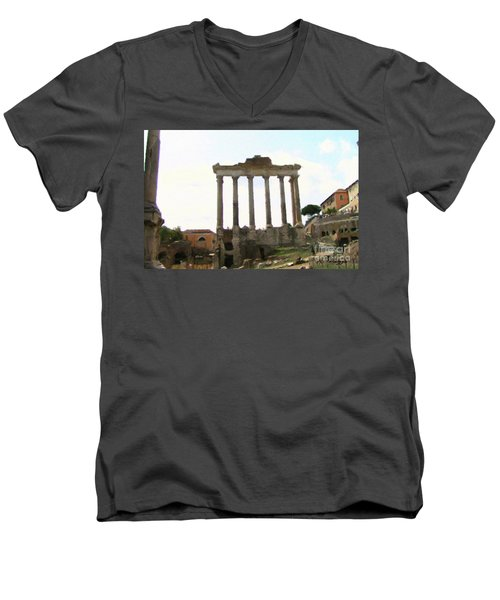 Men's V-Neck T-Shirt featuring the mixed media Rome The Eternal City by Rosario Piazza