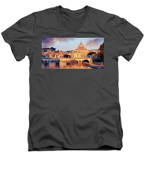 Men's V-Neck T-Shirt featuring the mixed media Rome The Eternal City - Saint Peter From The Tiber by Rosario Piazza
