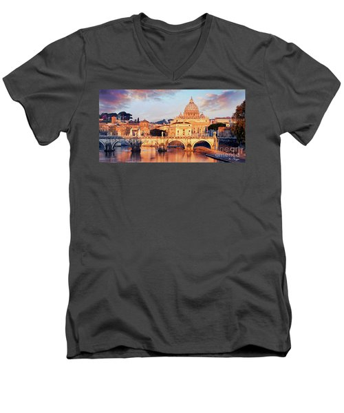 Rome The Eternal City - Saint Peter From The Tiber Men's V-Neck T-Shirt