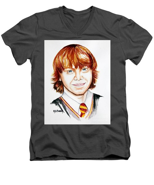 Men's V-Neck T-Shirt featuring the painting Ron Weasley by Maria Barry