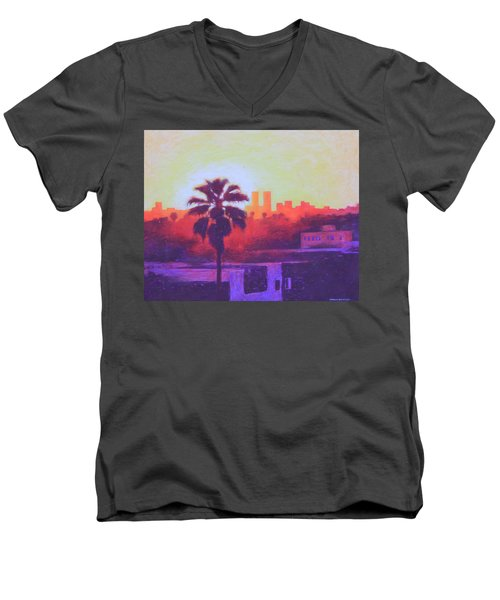 Men's V-Neck T-Shirt featuring the painting Rooftop Glow by Andrew Danielsen