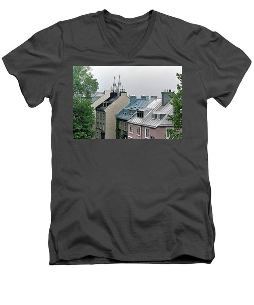 Men's V-Neck T-Shirt featuring the photograph Rooftops by John Schneider