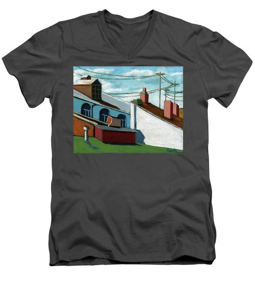 Rooftops Men's V-Neck T-Shirt by Linda Apple