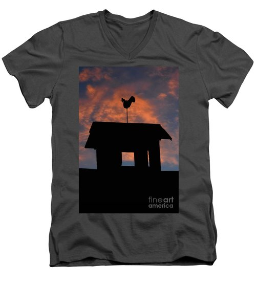 Rooster Weather Vane Silhouette Men's V-Neck T-Shirt by Henry Kowalski