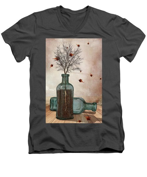 Rooted Men's V-Neck T-Shirt by Mihaela Pater