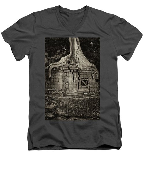 Men's V-Neck T-Shirt featuring the photograph Roots In Ruins 5, Ta Prohm, 2014 by Hitendra SINKAR
