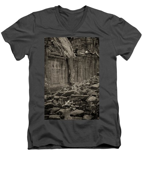 Men's V-Neck T-Shirt featuring the photograph Roots In Ruins 6, Ta Prohm, 2014 by Hitendra SINKAR