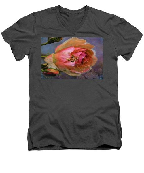 Rose Buttefly Men's V-Neck T-Shirt