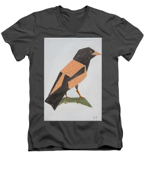 Rose-coloured Starling Men's V-Neck T-Shirt by Tamara Savchenko