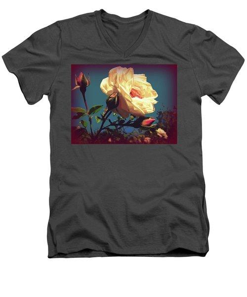 Rose Facing The Sun Men's V-Neck T-Shirt by Susan Lafleur