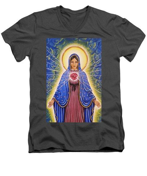 Rose Heart Men's V-Neck T-Shirt