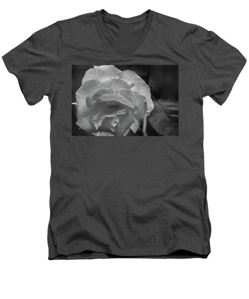 Rose In Black And White Men's V-Neck T-Shirt by Kelly Hazel