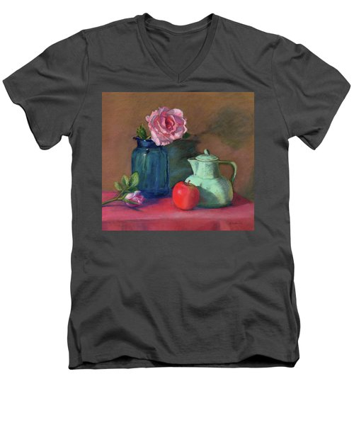 Men's V-Neck T-Shirt featuring the painting Rose In Blue Jar by Vikki Bouffard