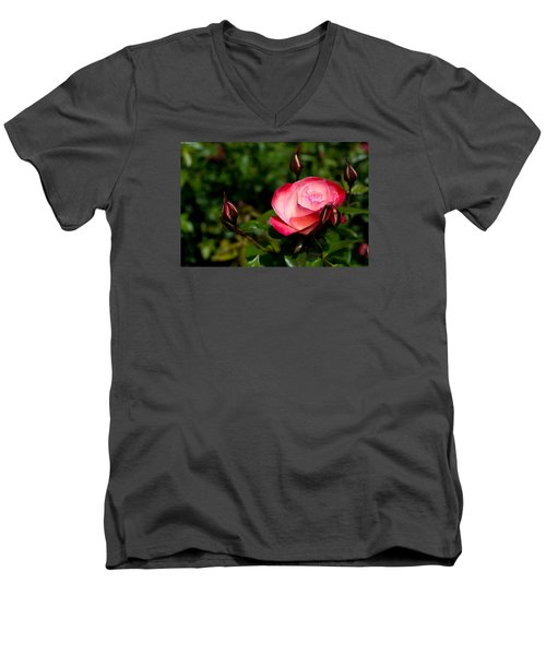 Men's V-Neck T-Shirt featuring the photograph Rose by Lora Lee Chapman