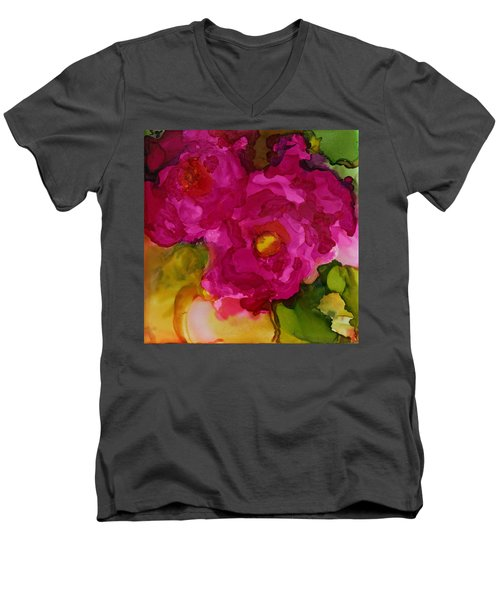 Rose To The Occation Men's V-Neck T-Shirt by Joanne Smoley