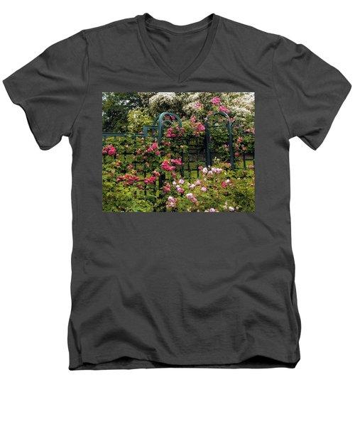 Rose Trellis Men's V-Neck T-Shirt