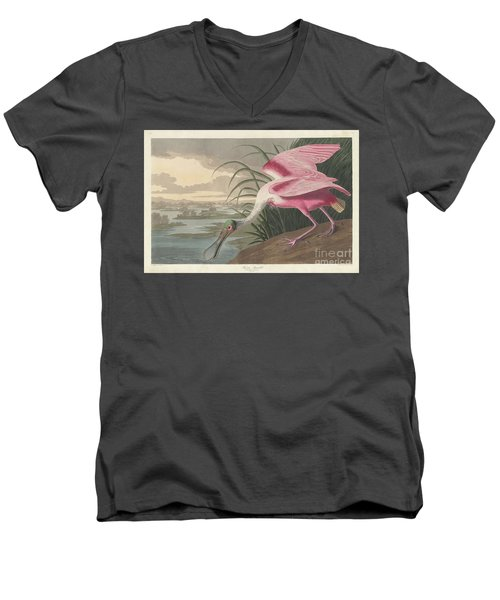 Roseate Spoonbill, 1836  Men's V-Neck T-Shirt by John James Audubon