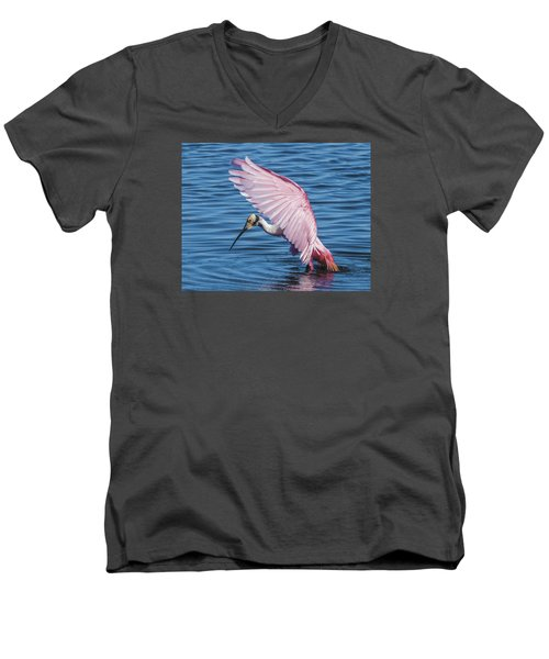 Roseate Spoonbill Profile With Wings Over Her Head Men's V-Neck T-Shirt