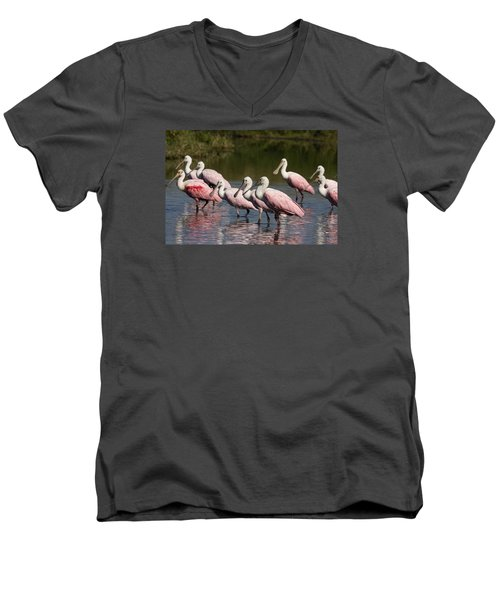 Roseate Spoonbills Men's V-Neck T-Shirt by Sally Weigand